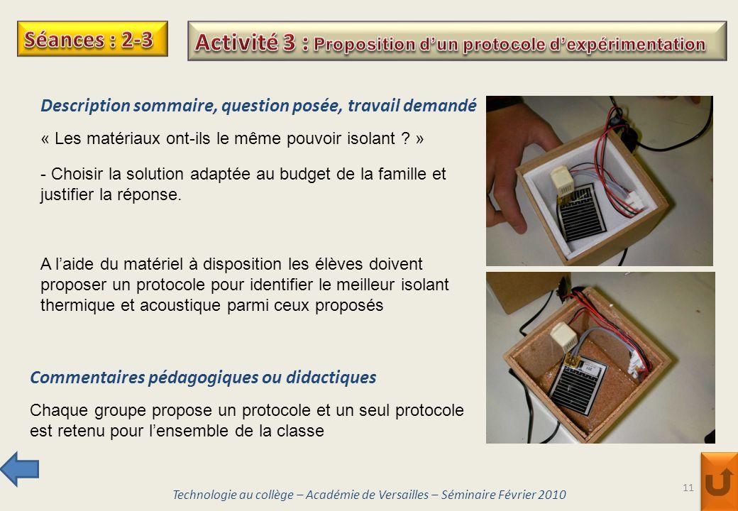 Activité 3 : Proposition d'un protocole d'expérimentation