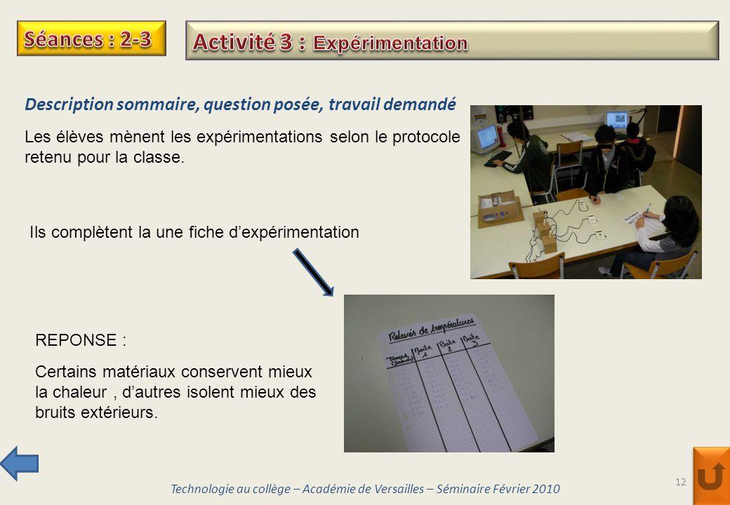Activité 3 : Expérimentation
