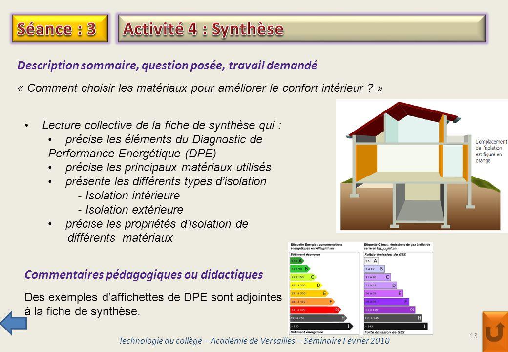 Séance : 3 Activité 4 : Synthèse