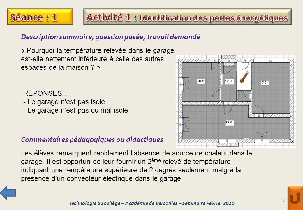 Activité 1 : Identification des pertes énergétiques