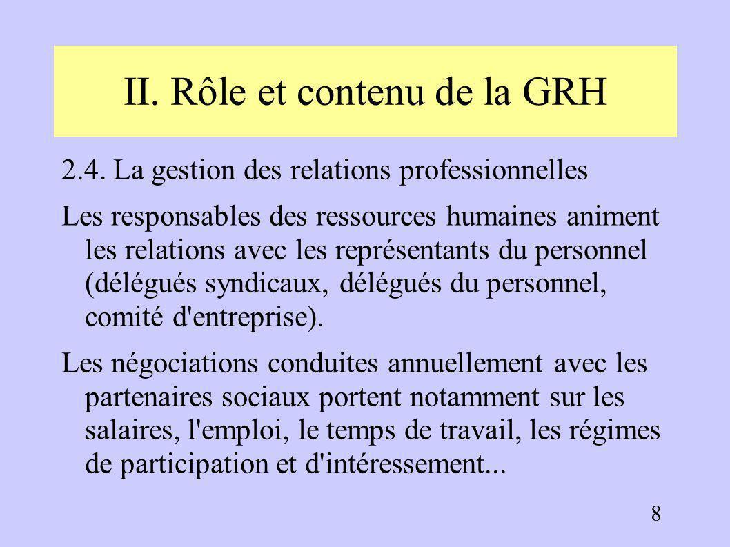 II. Rôle et contenu de la GRH