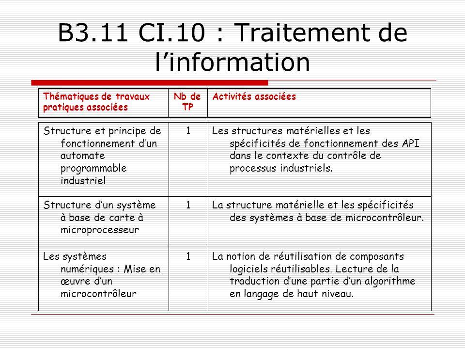 B3.11 CI.10 : Traitement de l'information