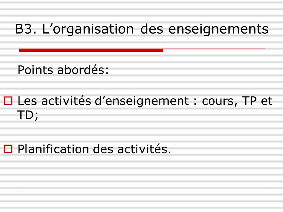 B3. L'organisation des enseignements