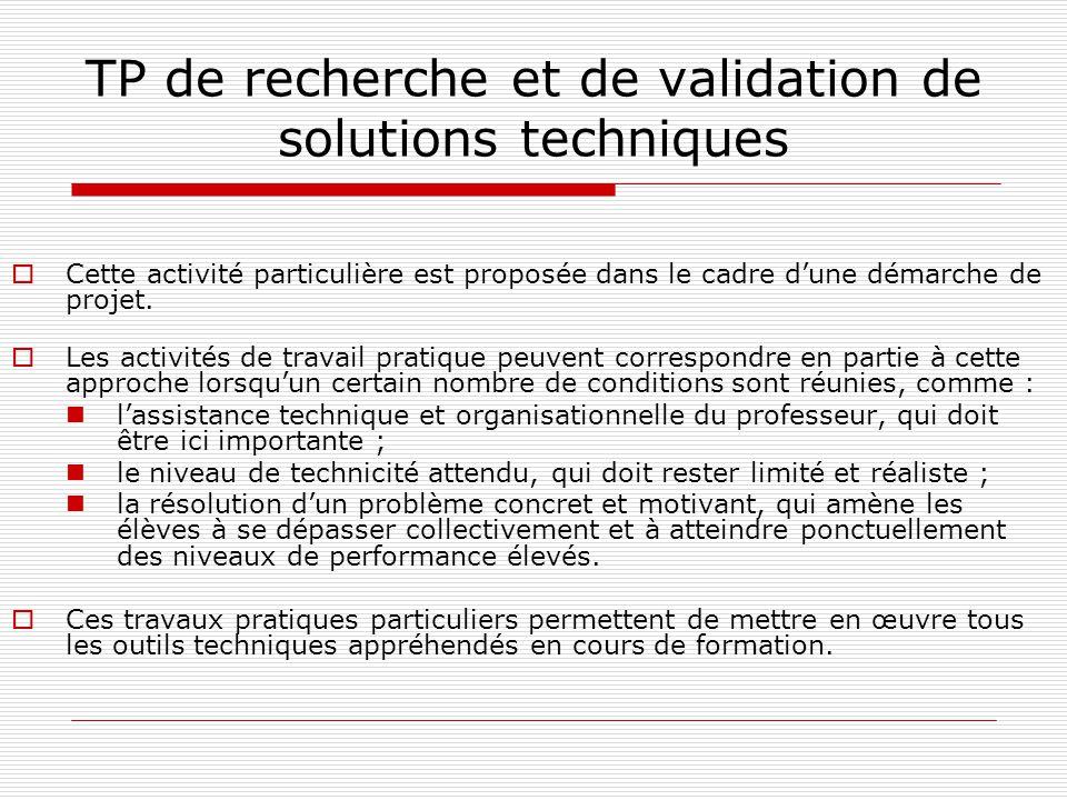 TP de recherche et de validation de solutions techniques
