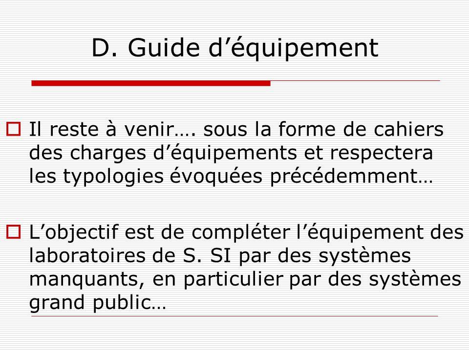 D. Guide d'équipement Il reste à venir…. sous la forme de cahiers des charges d'équipements et respectera les typologies évoquées précédemment…