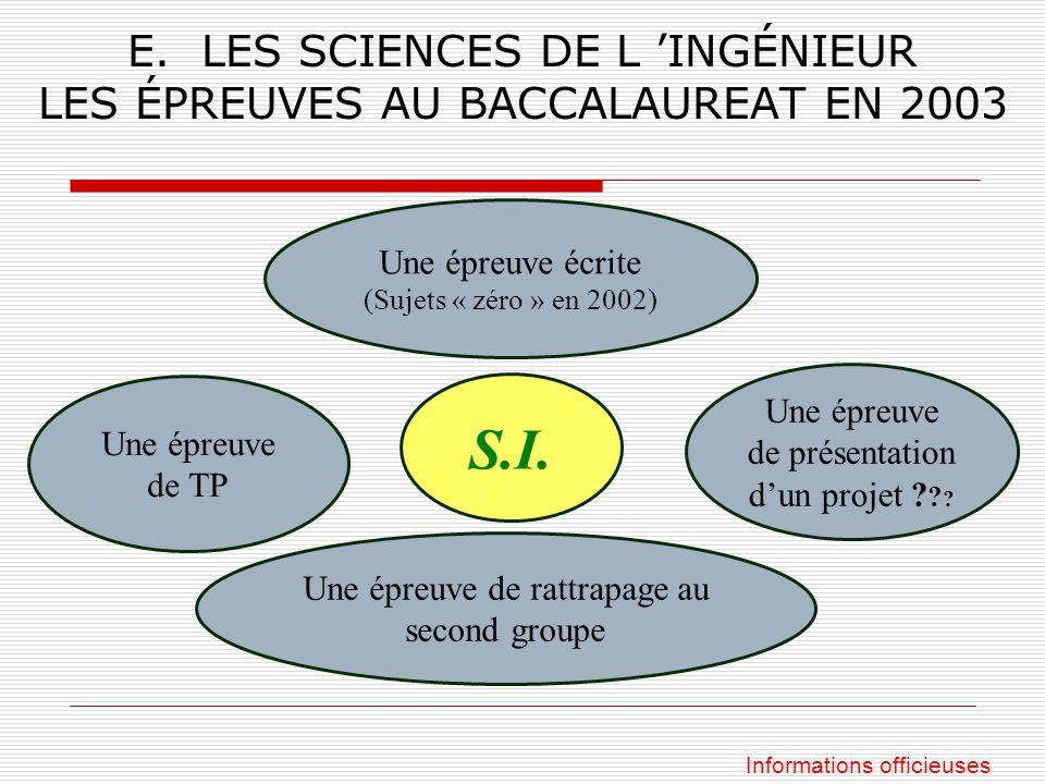 E. LES SCIENCES DE L 'INGÉNIEUR LES ÉPREUVES AU BACCALAUREAT EN 2003