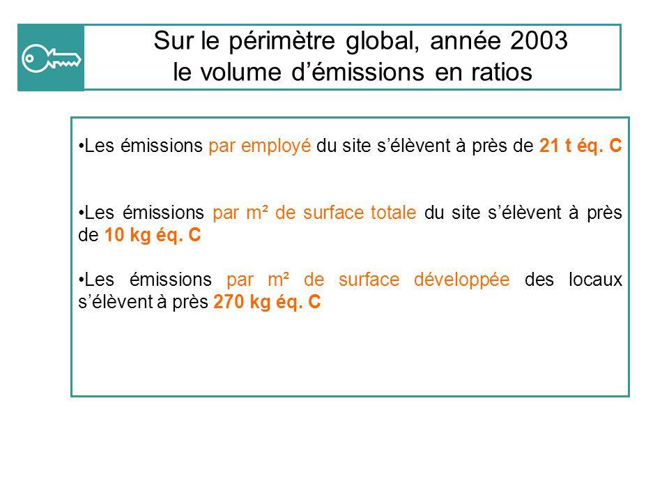 Sur le périmètre global, année 2003 le volume d'émissions en ratios