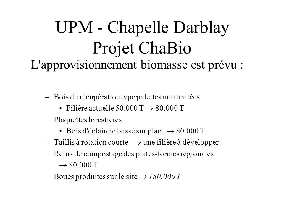 UPM - Chapelle Darblay Projet ChaBio
