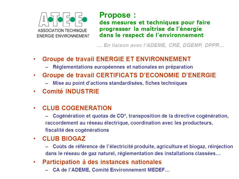Propose : Groupe de travail ENERGIE ET ENVIRONNEMENT