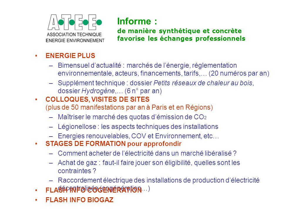 Informe : de manière synthétique et concrète favorise les échanges professionnels. ENERGIE PLUS.