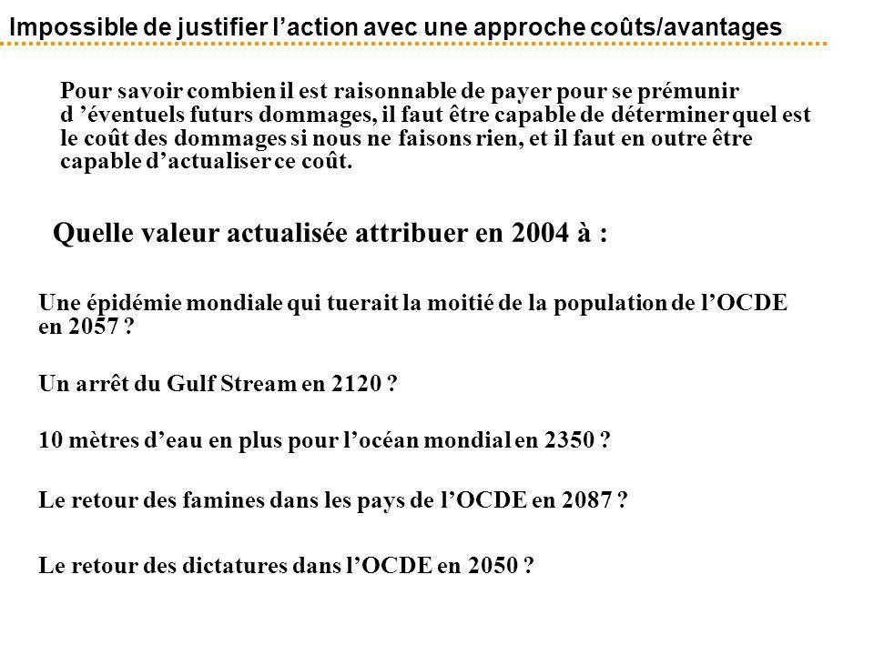 Quelle valeur actualisée attribuer en 2004 à :