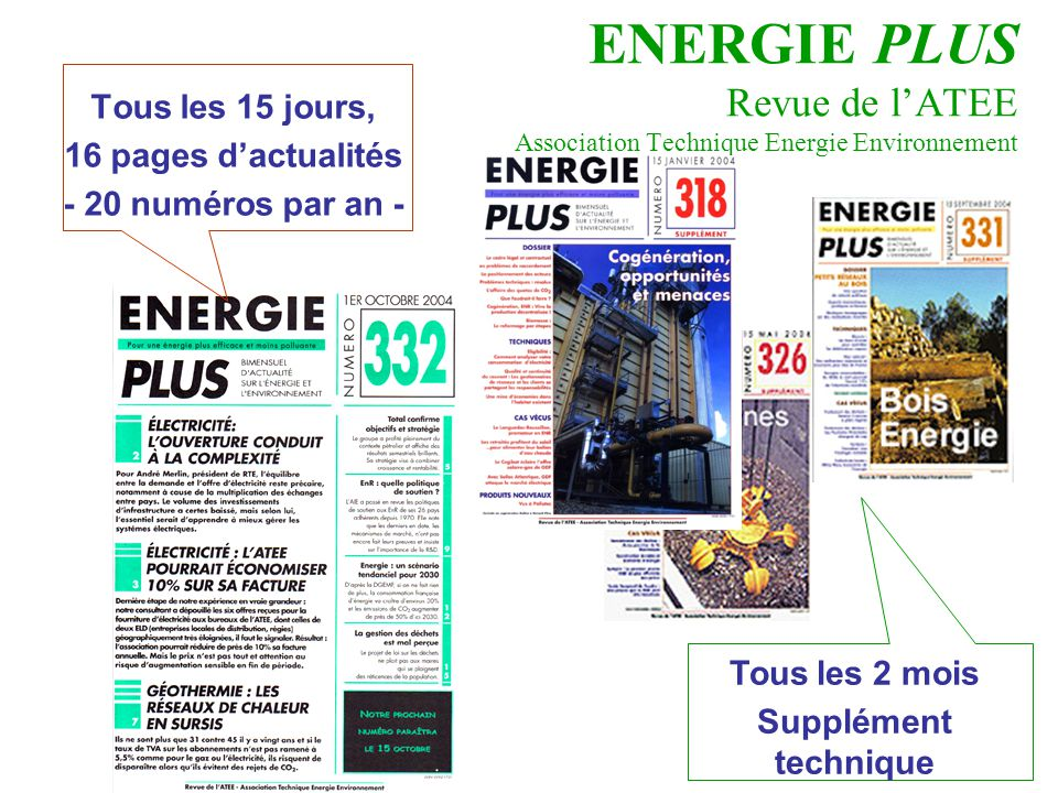 ENERGIE PLUS Revue de l'ATEE Association Technique Energie Environnement