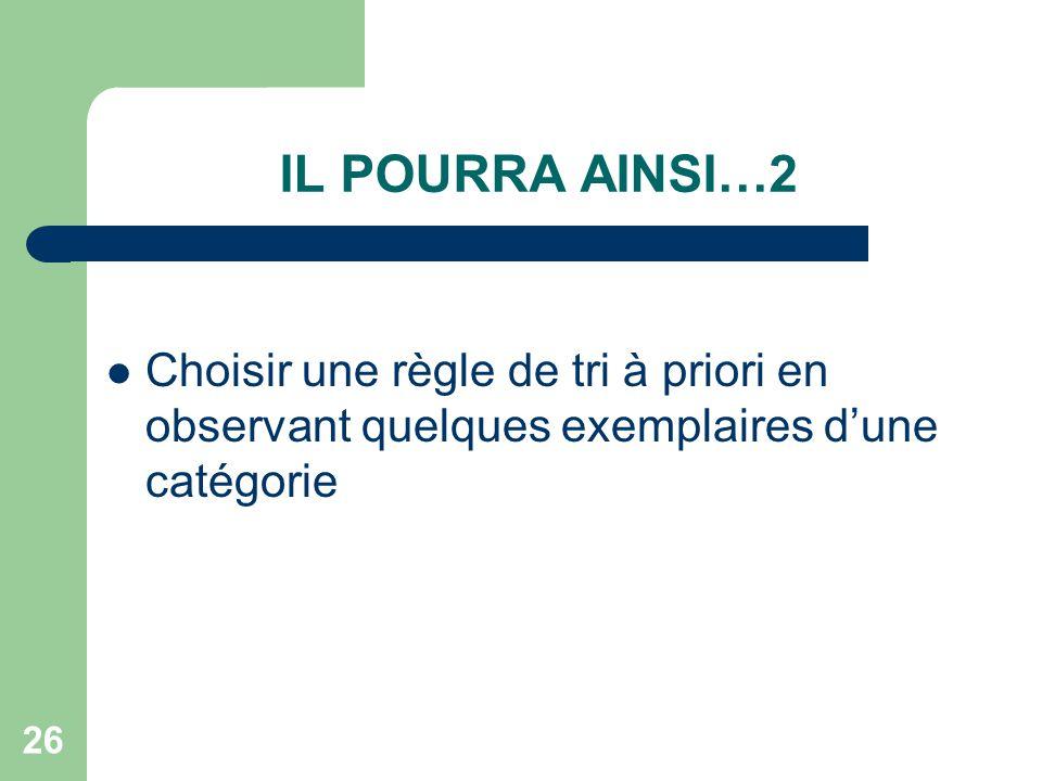 IL POURRA AINSI…2 Choisir une règle de tri à priori en observant quelques exemplaires d'une catégorie.
