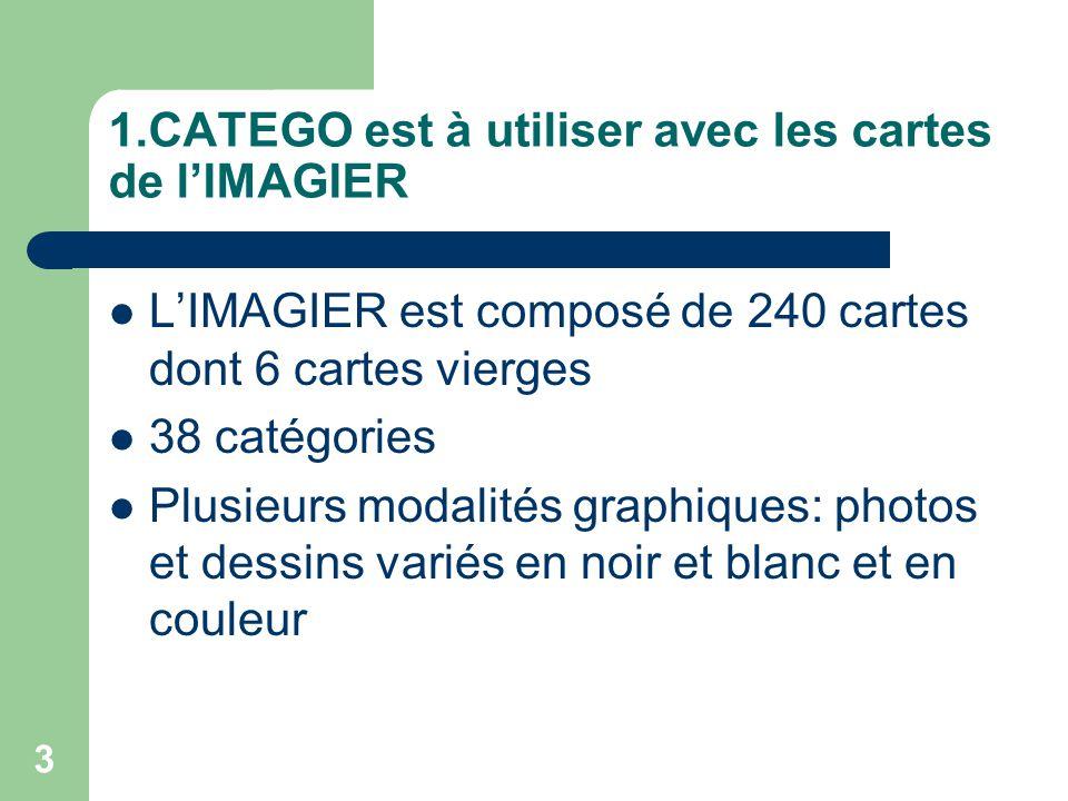 1.CATEGO est à utiliser avec les cartes de l'IMAGIER