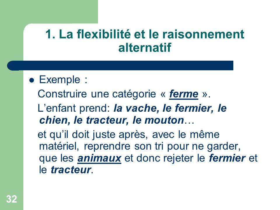 1. La flexibilité et le raisonnement alternatif