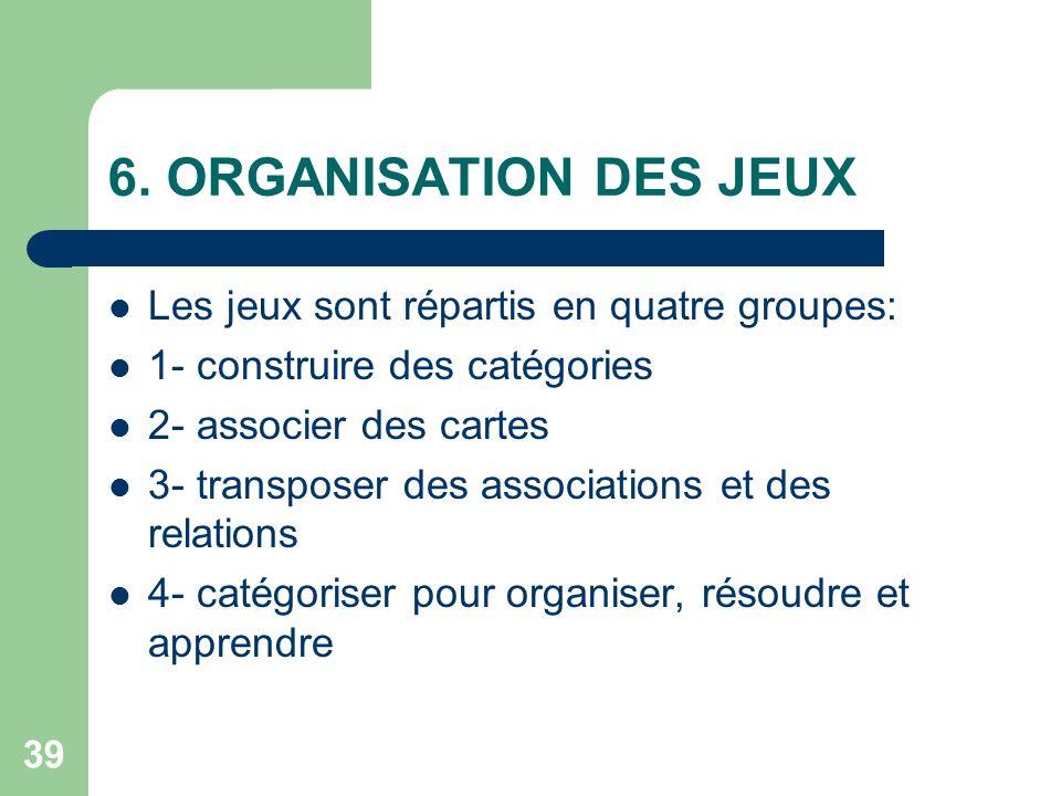 6. ORGANISATION DES JEUX Les jeux sont répartis en quatre groupes: