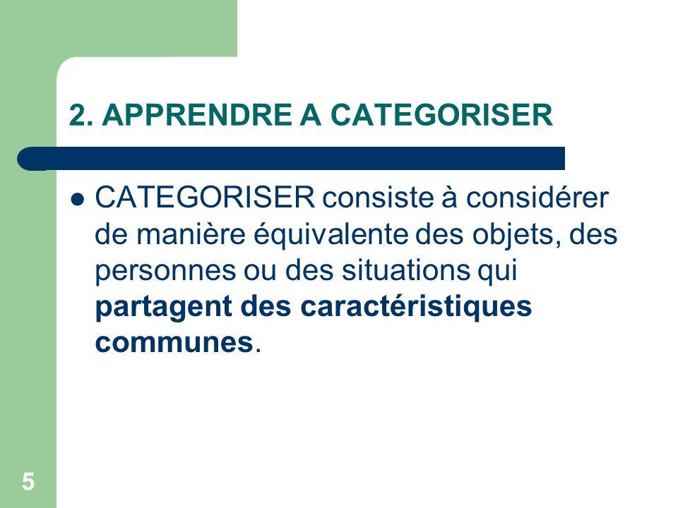 2. APPRENDRE A CATEGORISER