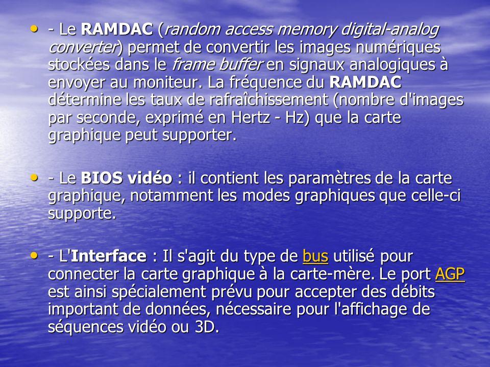 - Le RAMDAC (random access memory digital-analog converter) permet de convertir les images numériques stockées dans le frame buffer en signaux analogiques à envoyer au moniteur. La fréquence du RAMDAC détermine les taux de rafraîchissement (nombre d images par seconde, exprimé en Hertz - Hz) que la carte graphique peut supporter.