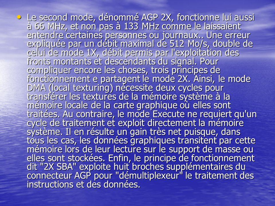 Le second mode, dénommé AGP 2X, fonctionne lui aussi à 66 MHz, et non pas à 133 MHz comme le laissaient entendre certaines personnes ou journaux..