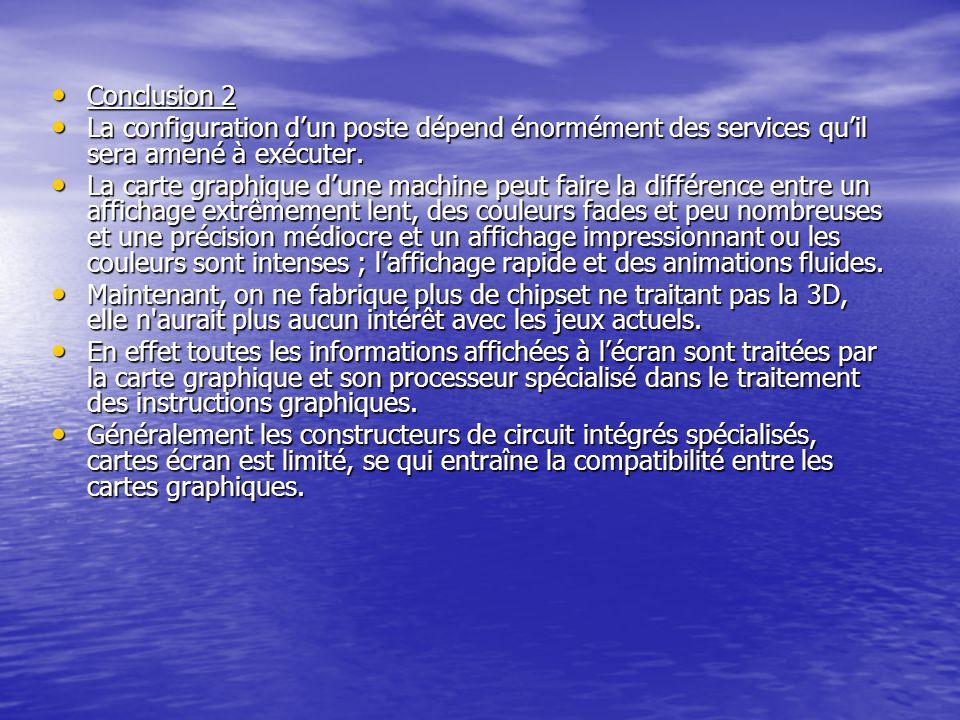 Conclusion 2 La configuration d'un poste dépend énormément des services qu'il sera amené à exécuter.