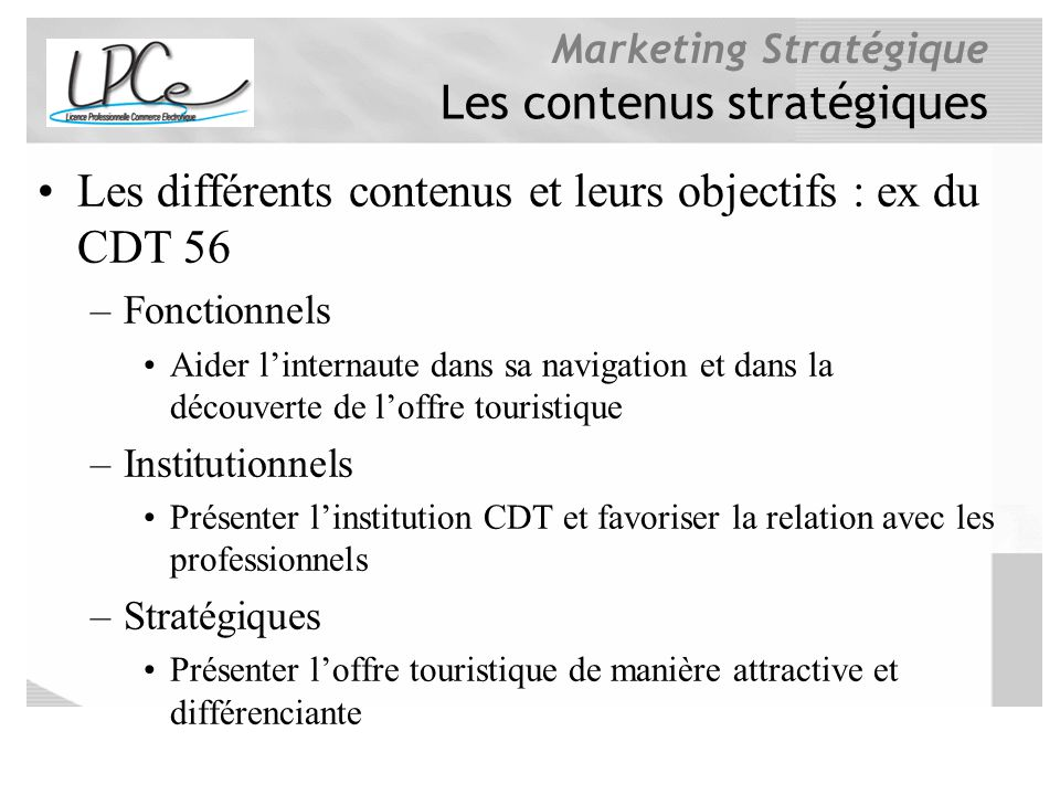 Les contenus stratégiques
