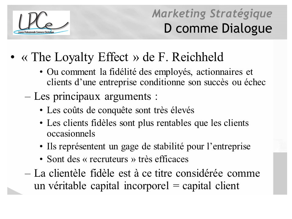 « The Loyalty Effect » de F. Reichheld