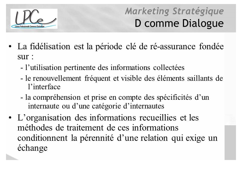 D comme Dialogue La fidélisation est la période clé de ré-assurance fondée sur : - l'utilisation pertinente des informations collectées.