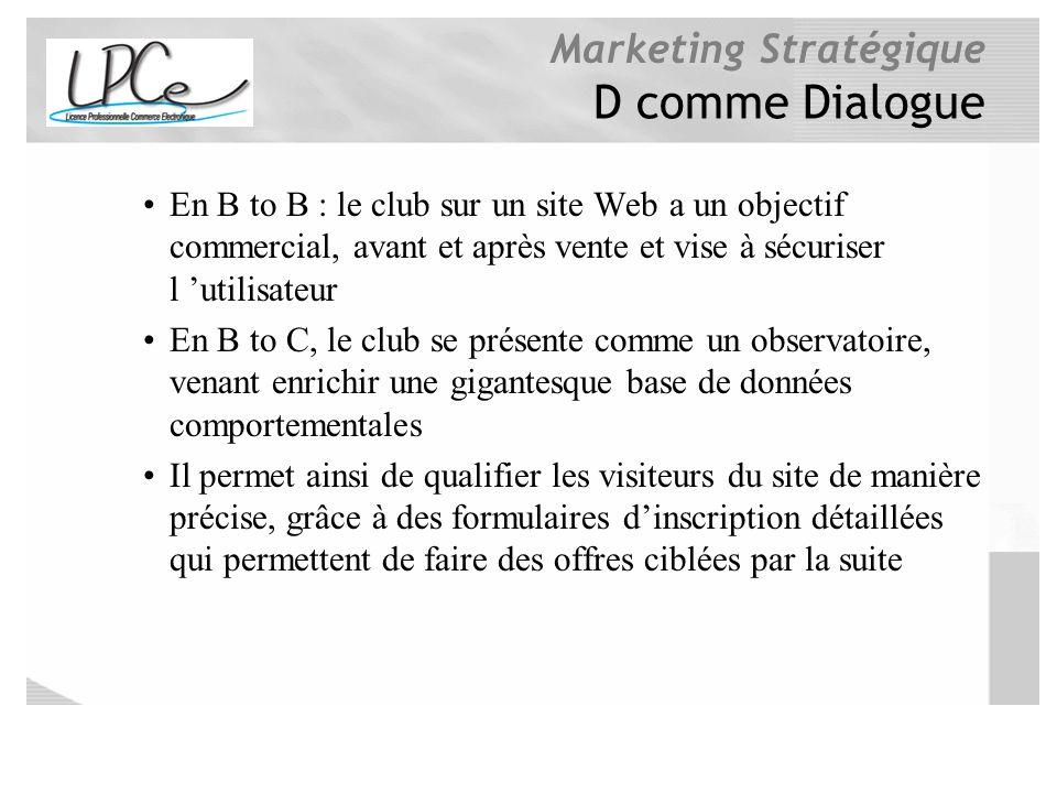 D comme Dialogue En B to B : le club sur un site Web a un objectif commercial, avant et après vente et vise à sécuriser l 'utilisateur.
