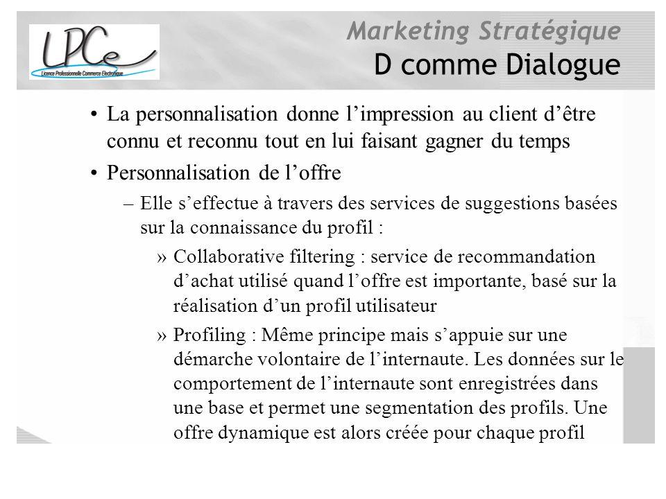 D comme Dialogue La personnalisation donne l'impression au client d'être connu et reconnu tout en lui faisant gagner du temps.