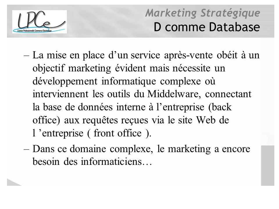 D comme Database