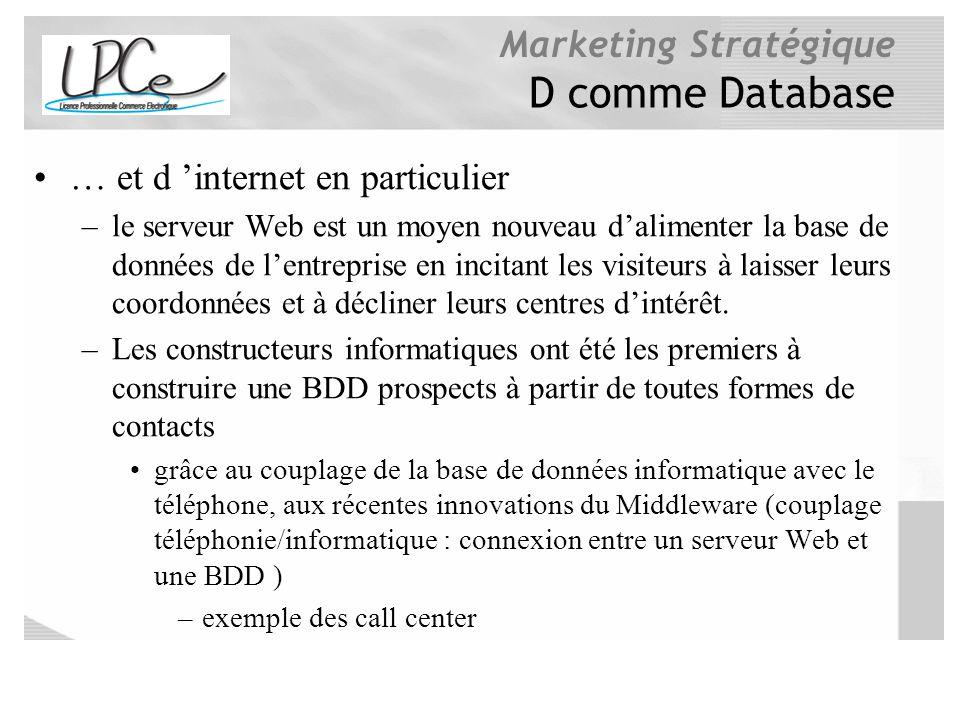 D comme Database … et d 'internet en particulier