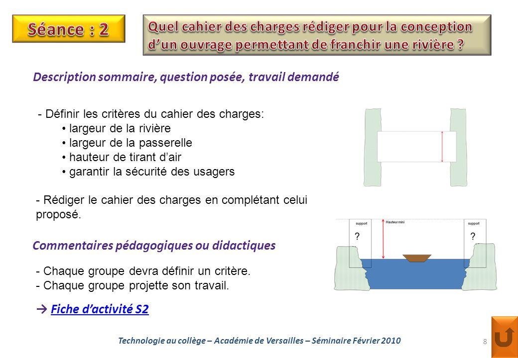 Séance : 2 Quel cahier des charges rédiger pour la conception d'un ouvrage permettant de franchir une rivière
