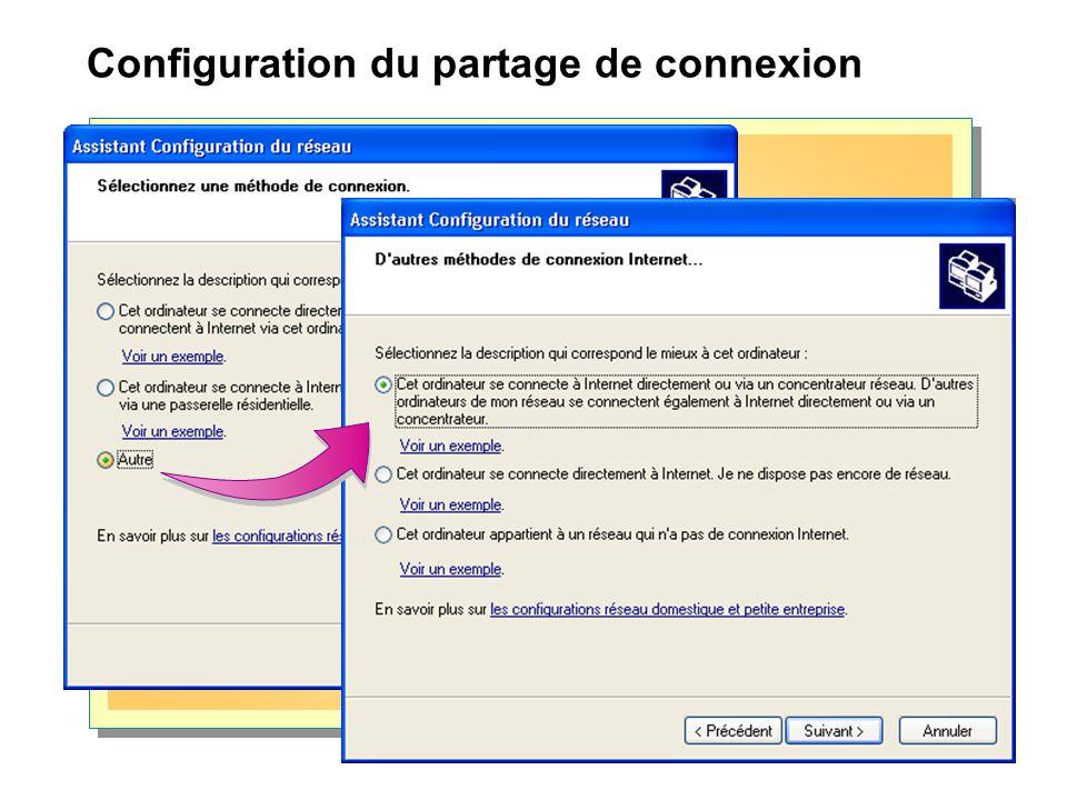 Configuration du partage de connexion