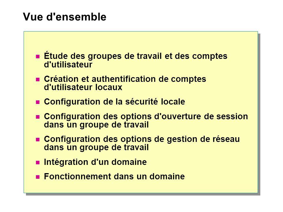 Vue d ensemble Étude des groupes de travail et des comptes d utilisateur. Création et authentification de comptes d utilisateur locaux.