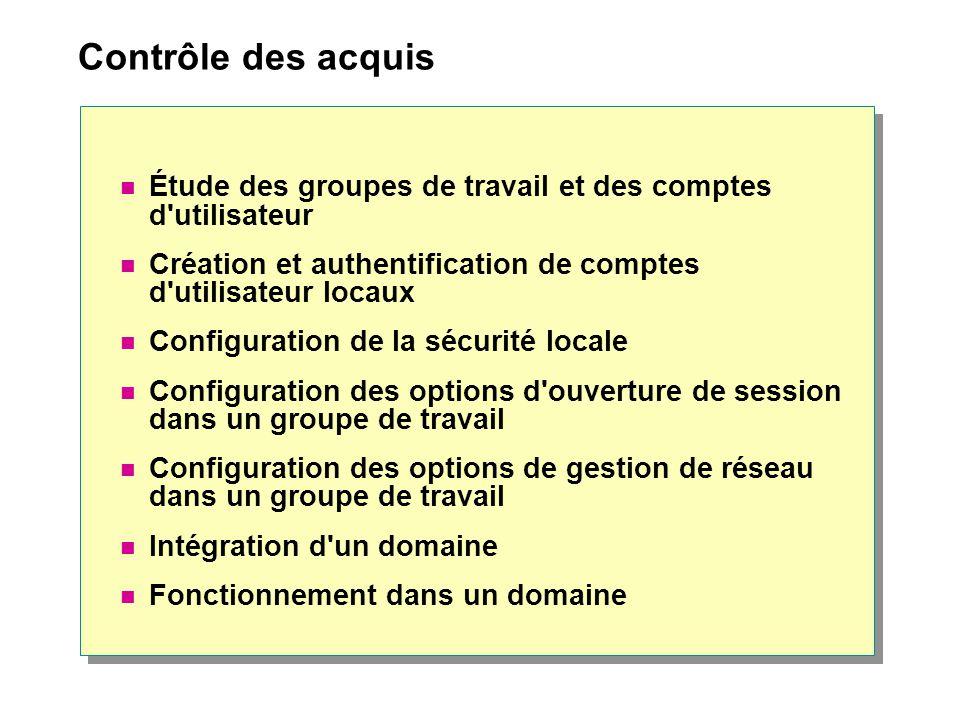Contrôle des acquis Étude des groupes de travail et des comptes d utilisateur. Création et authentification de comptes d utilisateur locaux.
