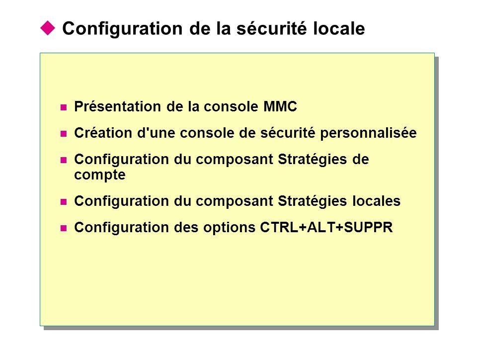 Configuration de la sécurité locale