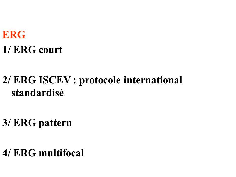 ERG 1/ ERG court. 2/ ERG ISCEV : protocole international standardisé.