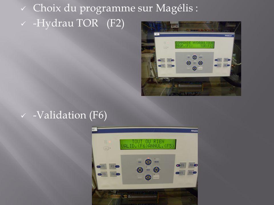 Choix du programme sur Magélis :
