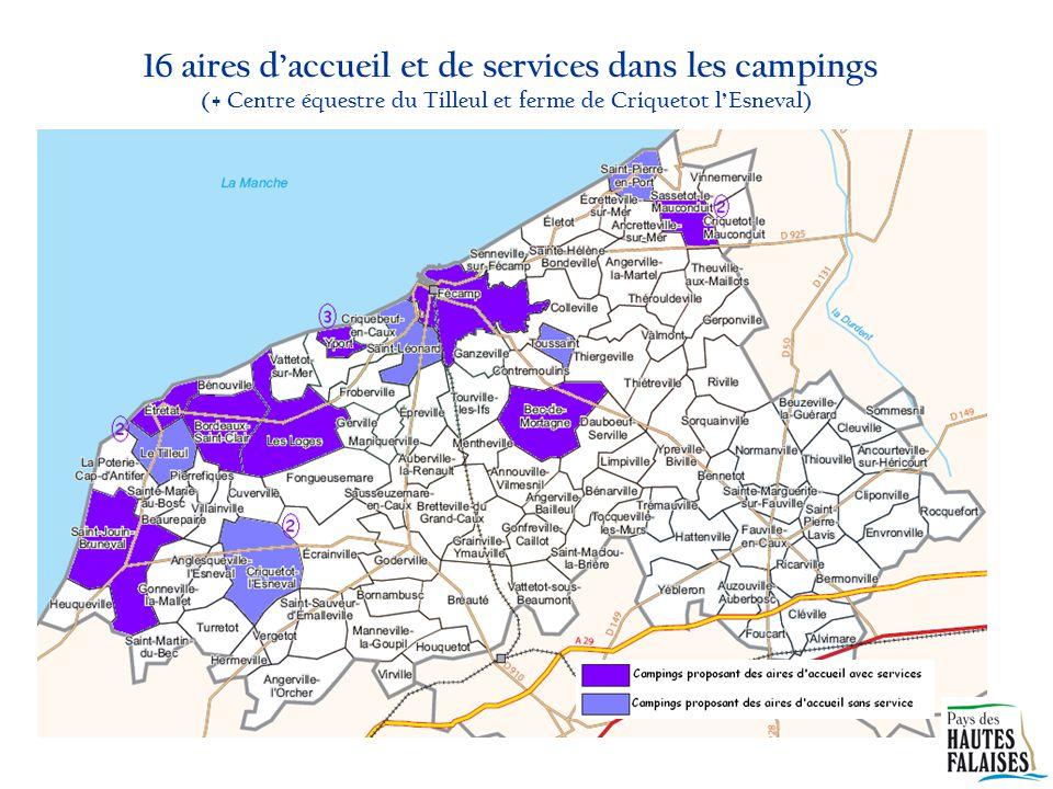 16 aires d'accueil et de services dans les campings (+ Centre équestre du Tilleul et ferme de Criquetot l'Esneval)