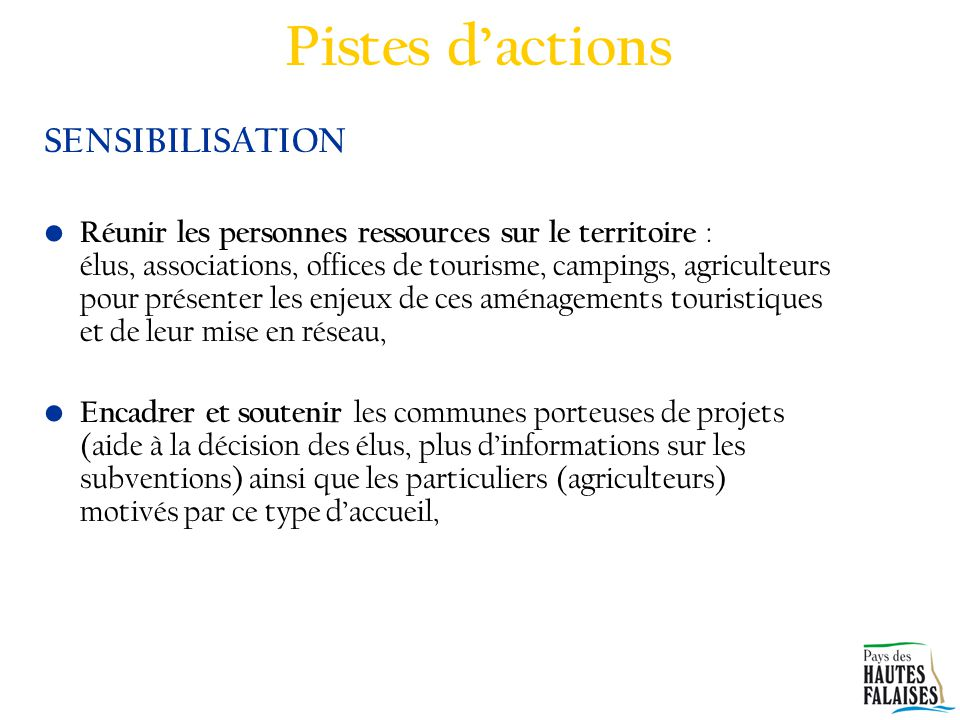 Pistes d'actions SENSIBILISATION