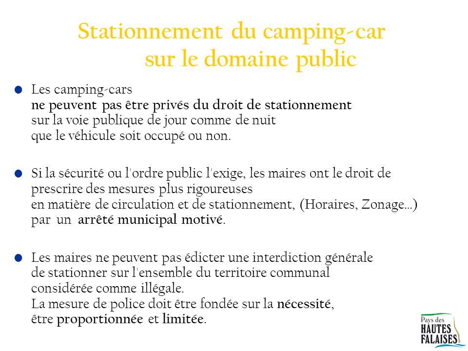 Stationnement du camping-car sur le domaine public