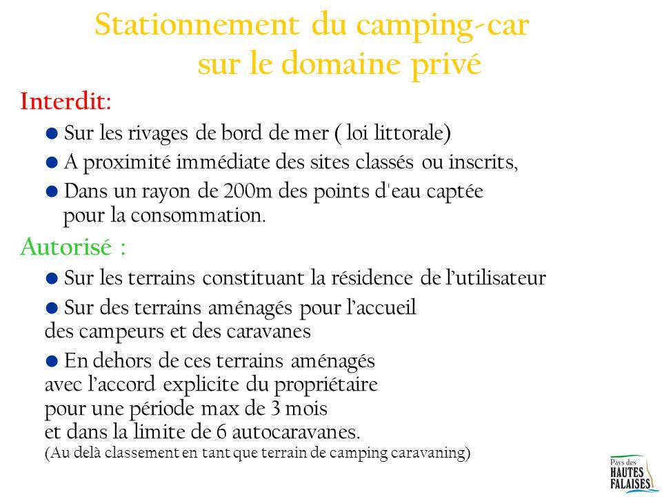Stationnement du camping-car sur le domaine privé
