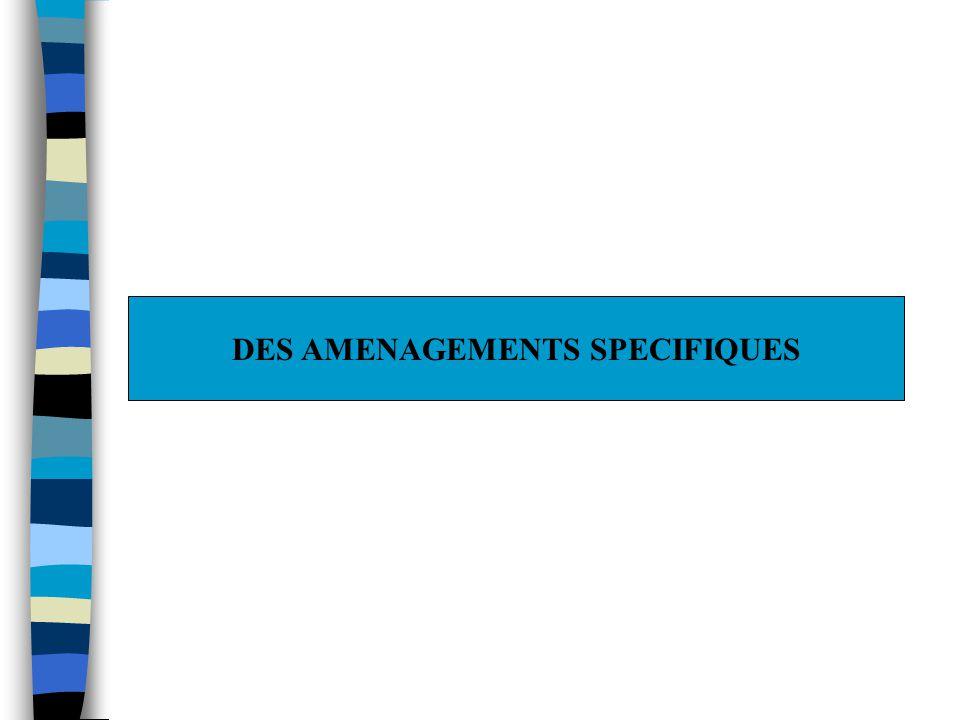 DES AMENAGEMENTS SPECIFIQUES
