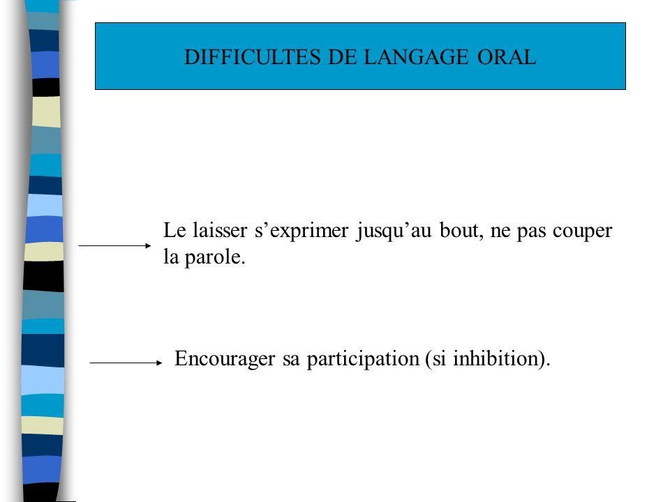 DIFFICULTES DE LANGAGE ORAL