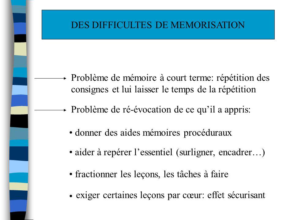 DES DIFFICULTES DE MEMORISATION