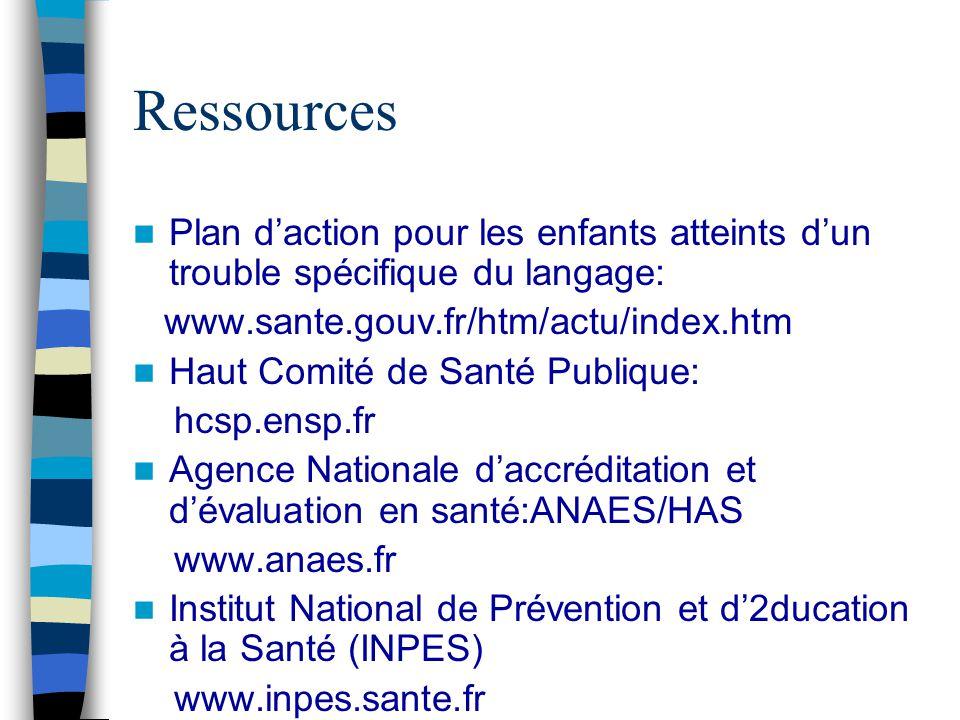 Ressources Plan d'action pour les enfants atteints d'un trouble spécifique du langage: www.sante.gouv.fr/htm/actu/index.htm.