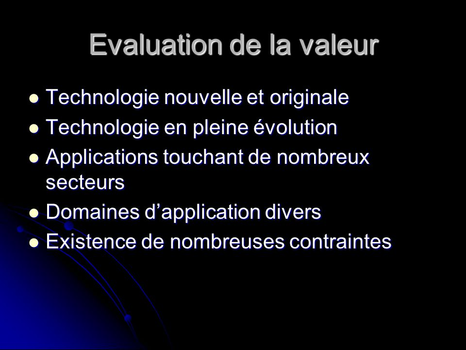 Evaluation de la valeur
