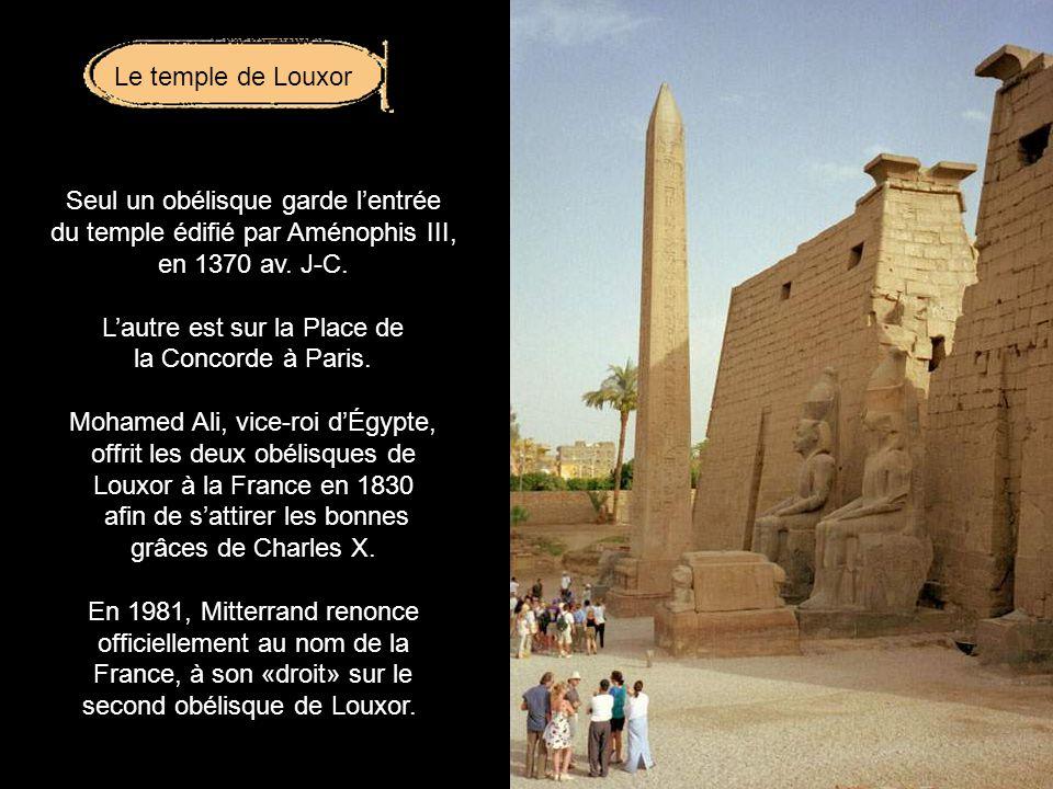 Seul un obélisque garde l'entrée du temple édifié par Aménophis III,