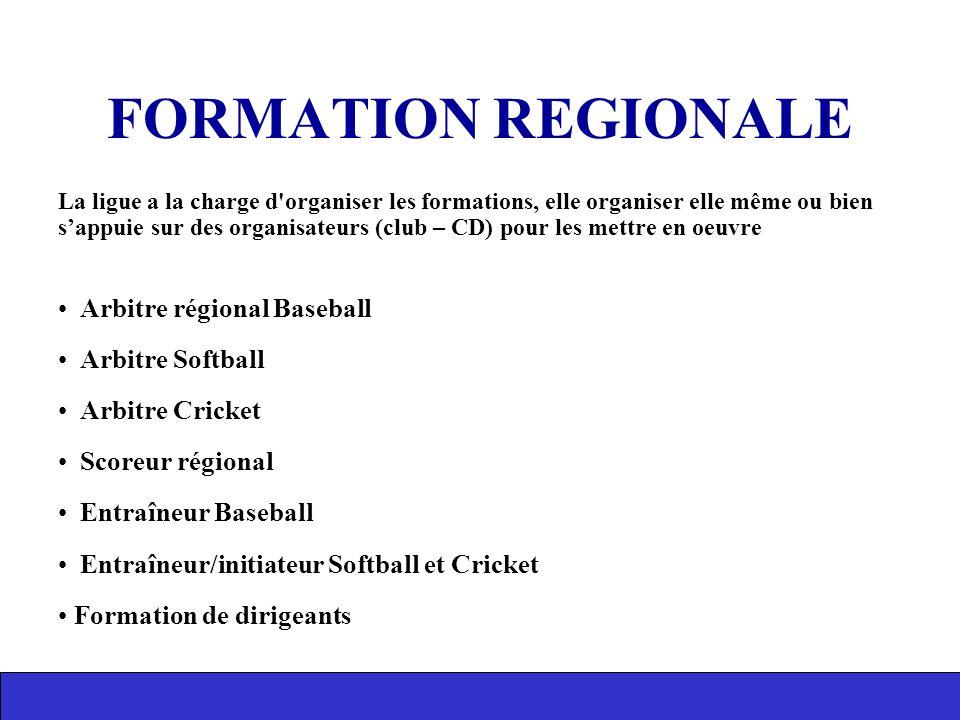 FORMATION REGIONALE Arbitre régional Baseball Arbitre Softball