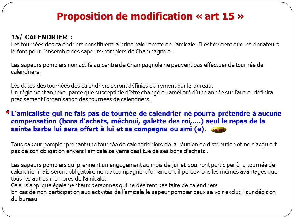 Proposition de modification « art 15 »